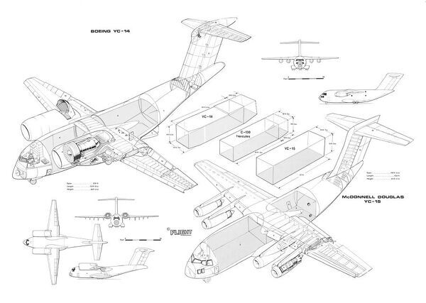 Boeing and McDonnell Douglas YC14+YC15 Cutaway Drawing