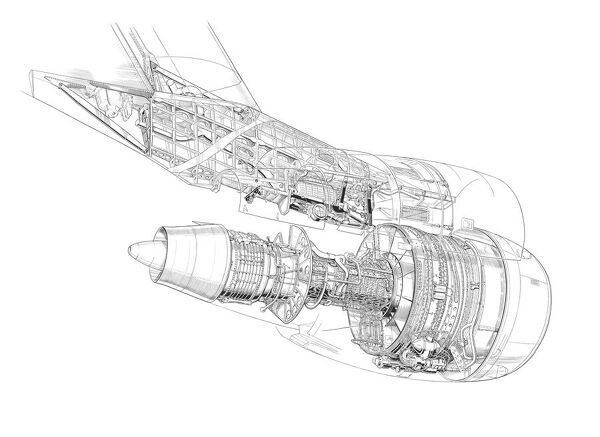 Boing/General Electric 747 Pylon and GE CF6 Cutaway Drawing