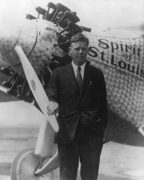 Charles Lindbergh with Ryan Monoplane Spirt of St Louis after atlantic crossing at Croydon UK
