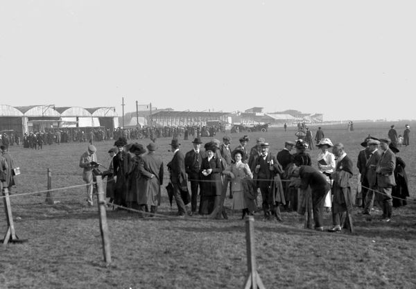 Crowds inspect the aircraft attending the Flying Meeting at Winter Gardens Flying Ground, Blackpool 1910