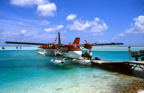 DH Twin Otter Maldivian Air Taxi at Male Airport for inter-island transfers