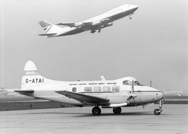 DH104 Dove. Dove 8 of Cenrax at LHR 1974