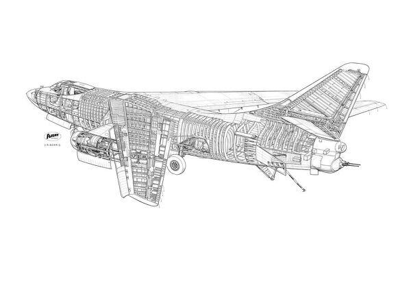 Douglas A3 Skywarrior Cutaway Drawing