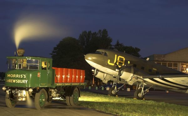 Kemble Dac and steam lorry (night shoot) Kemble airfield Gloucs