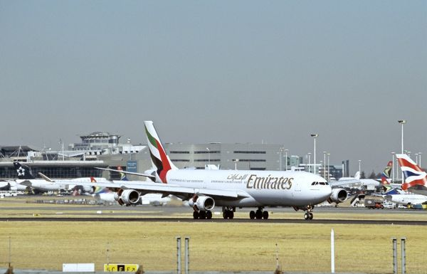 Emirates Airbus A340 just landed at Jo'burg Airport, South Africa