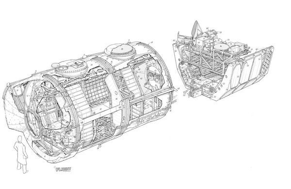 ESA/ERNO Spacelab Cutaway Drawing