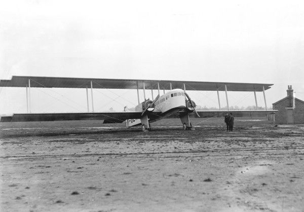 Farman, Goliath, Waddon, UK, 1920, 1920s, Historical, Civil, Airliner, Ground, 3/4, Front