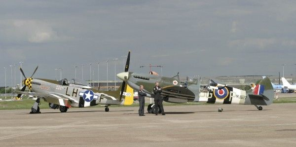 P-51 9G-MSTG) and B of B two seat Spitfire at BHX May 2003 for Polly Vacher send off