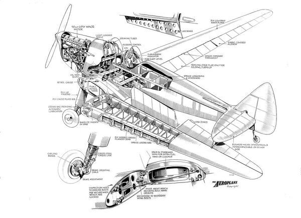 De Havilland DH94 Moth Minor Cutaway Drawing