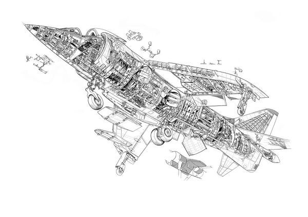 Hawker Siddeley Harrier GR1 Cutaway Drawing