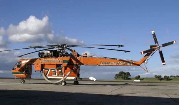 Erickson Air-crane used for fighting bush fires, parked at Melbourne Essendon Airport