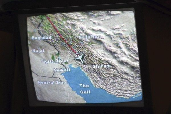 IFE: Moving Map. In-flite seat back map on EK A330 - topical with Iran/Iraq/Kuwait