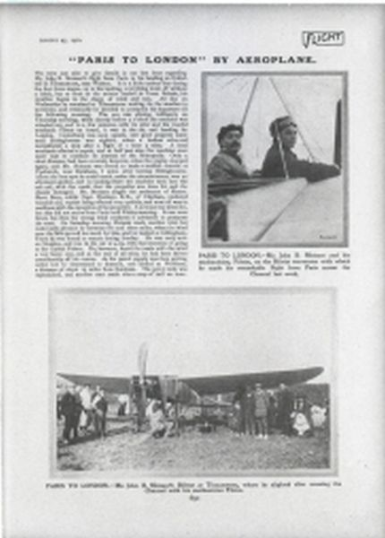 John B Moisant Bleriot after crossing the English Channel in his Aircraft, 1910