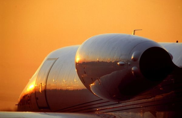 Learjet at sunset. learjet wags