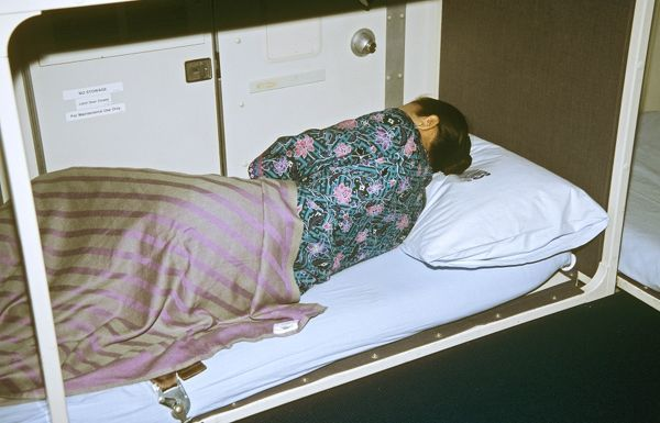 Malaysian Airlines cabin crew taking a rest in sleeping quarters