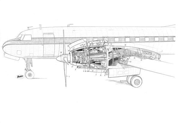 Napier/Convair Eland installation on convair 3 Cutaway Drawing