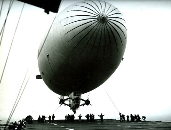US Navy anti submarine Blimp airship being launched from an Aircraft Carrier