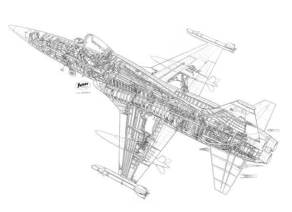 Northrop F-5A Freedom Fighter Cutaway Drawing