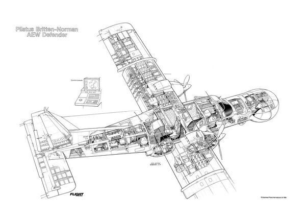 Pilatue Britten Norman AEW Defender Cutaway Drawing