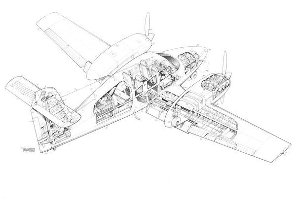Piper Seminole Cutaway Drawing