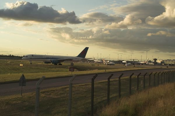 Queue for take off at Birmingham Airport