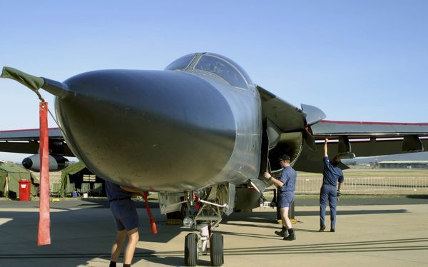 F.111. RAAF F.111 being pre-flight checked at Avalon