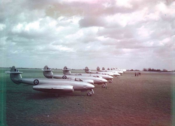 RAF Meteor F4's on the ground at an airbase in 1946