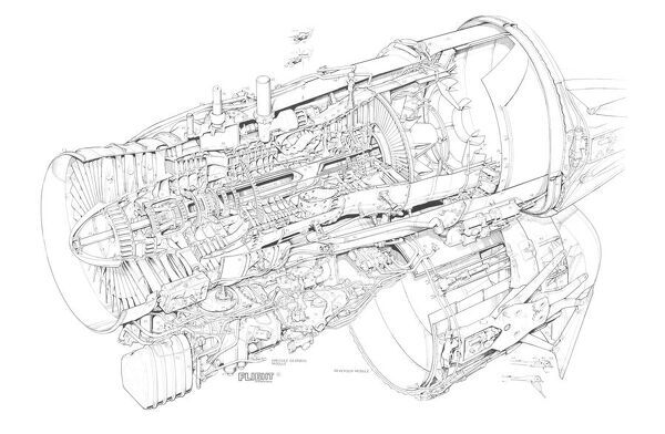 Rolls-Royce RB.199 Cutaway Drawing