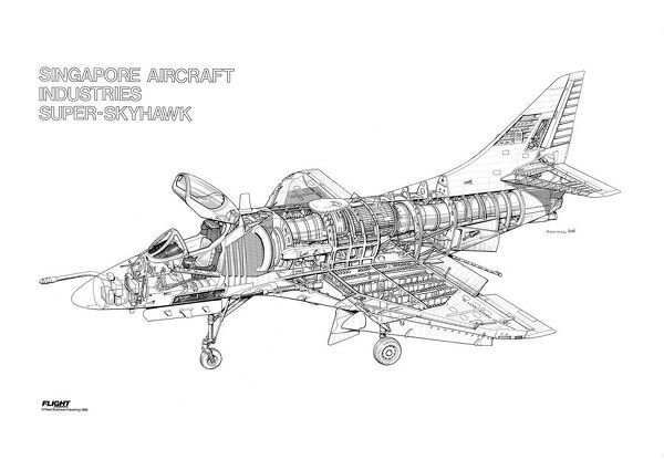 Singapore Aircraft Industries Super Skyhawk Cutaway Drawing