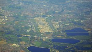 modern aircraft/aerial view heathrow airport showing t5 area