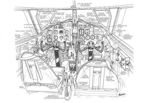 Airspeed Oxford Cockpit Detail Cutaway Drawing