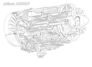 Allison AE 3007 Cutaway Drawing