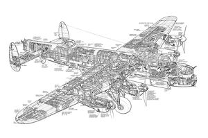 Avro 683 Lancaster Bomber Cutaway Drawing