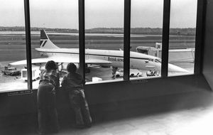 BAe Concorde - two small boys looking at aircraft 1974
