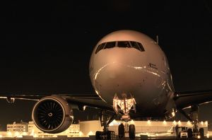 Boeing 777 at Boeing plant Seatle USA at night