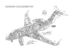 Bombardier Challenger 601 Cutaway Drawing