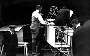 Claude Grahame-White overseeing the erection of Bleriot monoplane