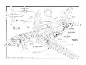 Dassault Falcon 50 MC Cutaway Drawing