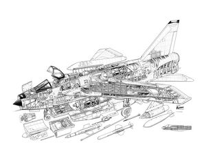 English Electric Lightning F-53 Cutaway Drawing