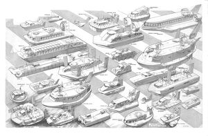 Hovercraft through the ages Cutaway Drawing