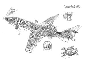 Learjet 45 Cutaway Drawing