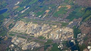 modern aircraft/london heathrow aerial view se corner including