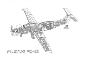 Pilatus PC-12 Cutaway Drawing