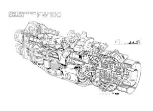 Pratt & Whitney Canada PW100 Cutaway Drawing