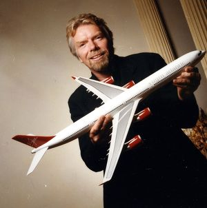 Richard Branson holding model of the A340-600