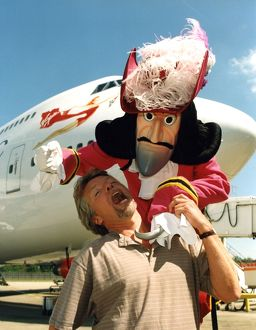 Richard Branson with new 747-400 aircraft