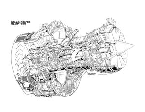 Rolls Royce RB211-535 Cutaway Drawing