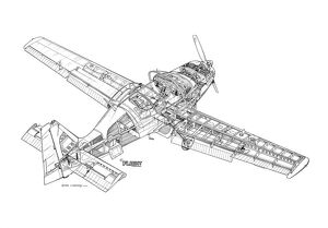 Scottish Aviation Bulldog Cutaway Drawing