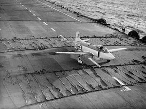 Vickers Supermarine Attacker on deck of HMS Eagle 1952