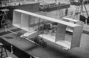 A Voisin biplane on show at the 1909 Olympia Aero show